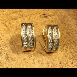 14k Yellow Gold Diamond Huggie Pierced Earrings